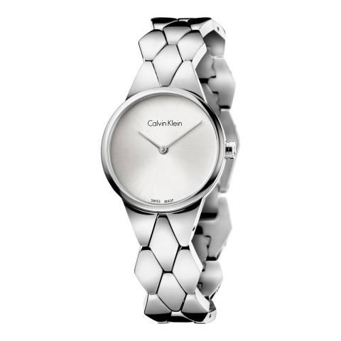 Calvin Klein Silver White Dial Snake Bracelet Watch 28mm