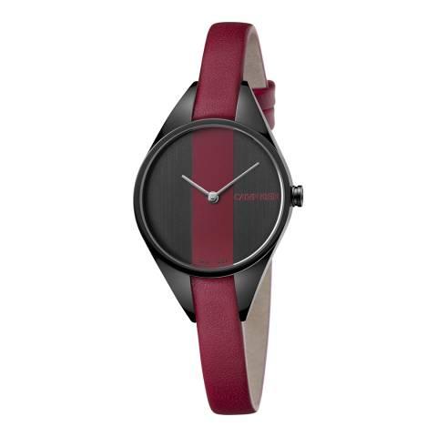 Calvin Klein Red Black Rebel Leather Watch 29mm