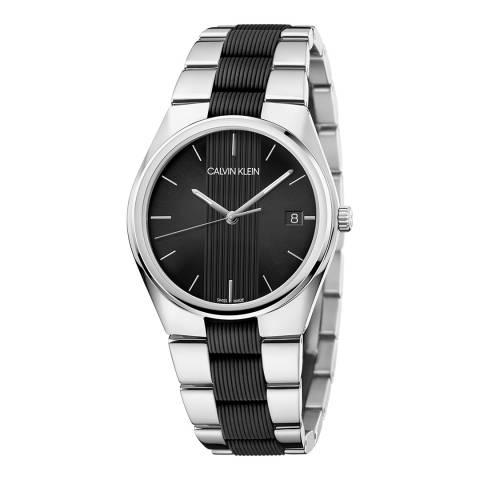 Calvin Klein Silver Black Contra Bracelet Watch 40mm