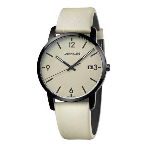 Calvin Klein Beige City Leather Watch 43mm