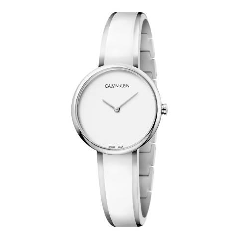 Calvin Klein White Silver Seduce Bangle Watch 30mm