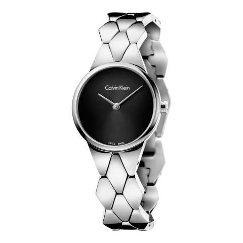 Calvin Klein Silver Black Dial Snake Bracelet Watch 28mm