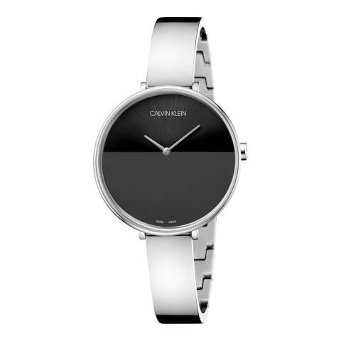 Calvin Klein Silver Black Dial Rise Bangle Watch 38mm