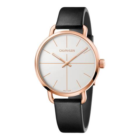 Calvin Klein Black Rose Gold Even Leather Watch 42mm