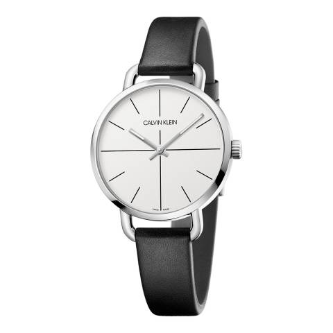 Calvin Klein Black Silver Even Leather Watch 36mm