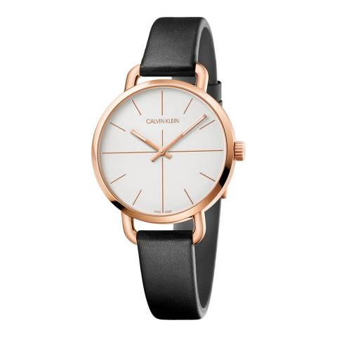 Calvin Klein Black Rose Gold Even Leather Watch 36mm