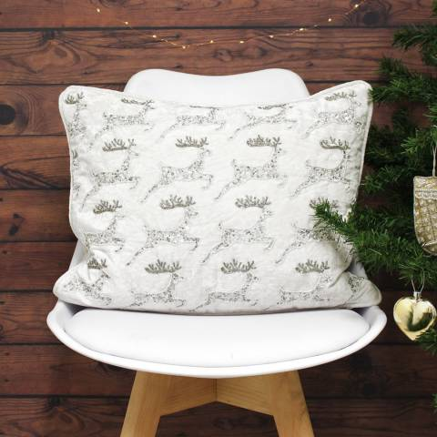 Paoletti White Christmas Reindeer 35x50cm Cushion