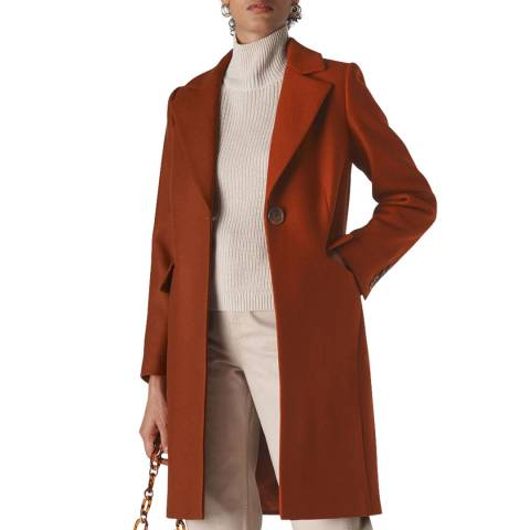 WHISTLES Rust Clara Wool Blend Coat