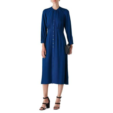 WHISTLES Dark Blue Eloise Textured Dress