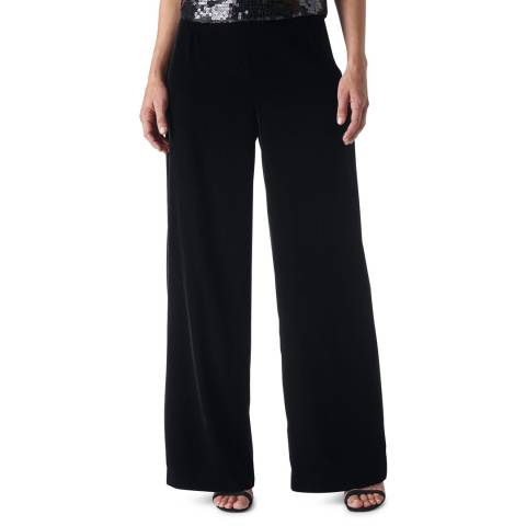 WHISTLES Black Velvet Wide Leg Trousers