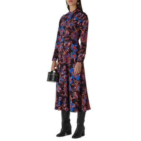 WHISTLES Black Print Ruby Trailing Bloom Dress