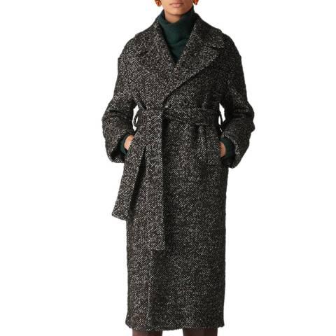 WHISTLES Black Leila Wool Blend Coat