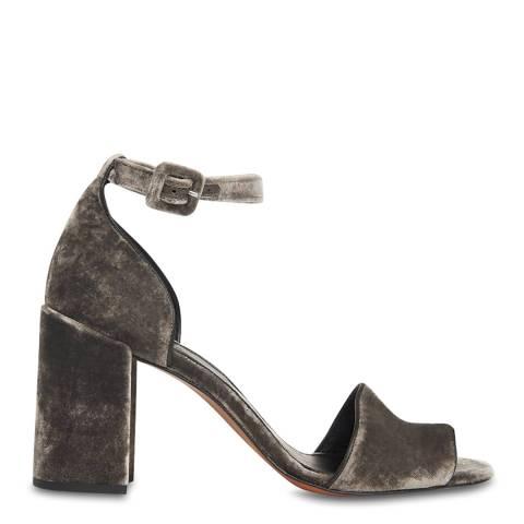 WHISTLES Grey Hedda Velvet Block Heel Sandals