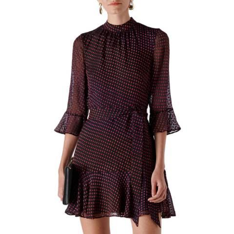 WHISTLES Pink Gianna Ombre Silk Blend Dress