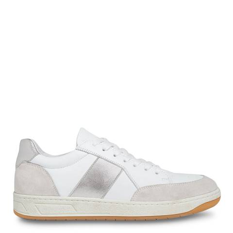 WHISTLES Silver Kew Leather Trainers