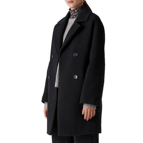 WHISTLES Navy Wide Sleeve Wool Blend Coat