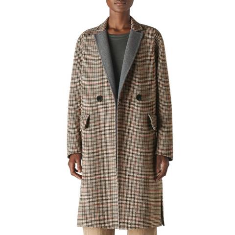 WHISTLES Multi Check Double Faced Wool Coat