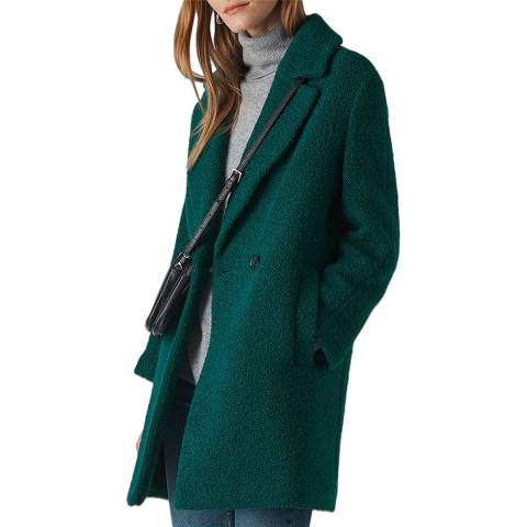 WHISTLES Teal Boucle Wool Blend Coat