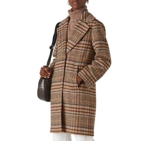 WHISTLES Multi Check Mara Cocoon Wool Blend Coat