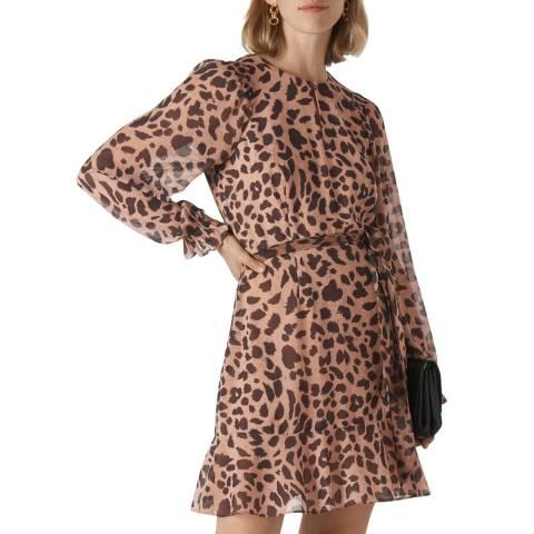 WHISTLES Cheetah Print Brushed Flippy Dress