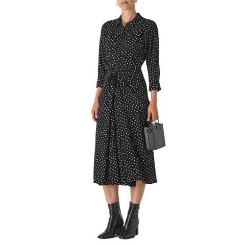 WHISTLES Black Abstract Spot Selma Tie Dress