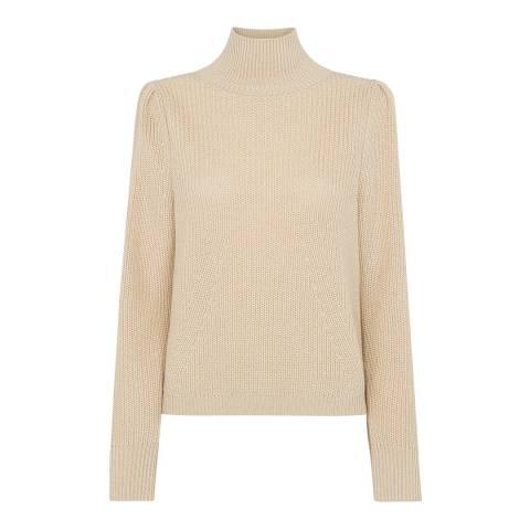 WHISTLES Beige Puff Sleeve Wool Blend Jumper