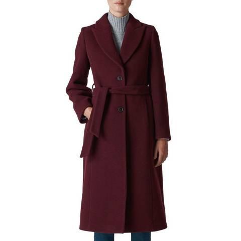 WHISTLES Burgundy Penelope Belted Wool Bled Coat