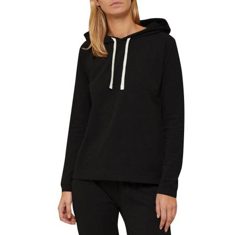 N°· Eleven Black Cotton Jersey Hooded Top