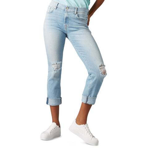 7 For All Mankind Blue Relaxed Skinny Jeans