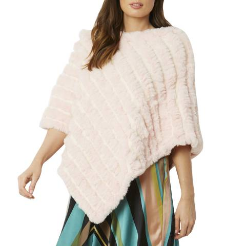 JayLey Collection Pink Cashmere Blend Faux Fur Poncho