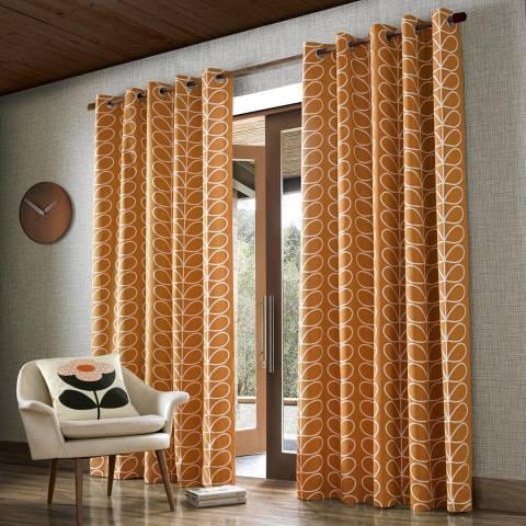 Orla Kiely Linear Stem 229x274cm Curtains, Papaya