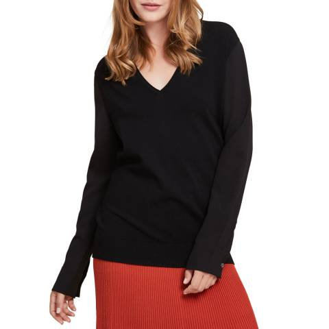 STEFANEL Black V-Neck Knitted Top