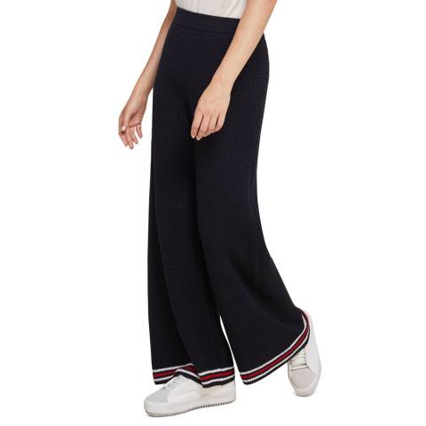 STEFANEL Navy Cotton Wide Leg Trousers
