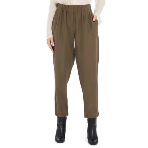 STEFANEL Khaki Elasticated Stretch Trouser