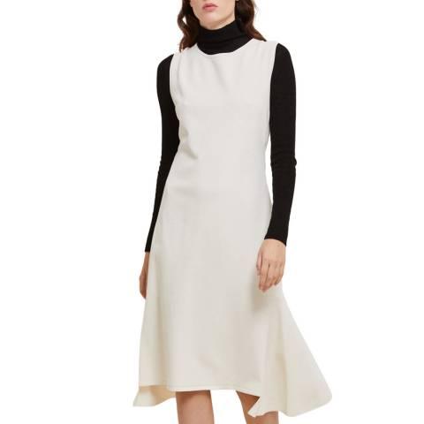 STEFANEL Cream Midi Length Dress