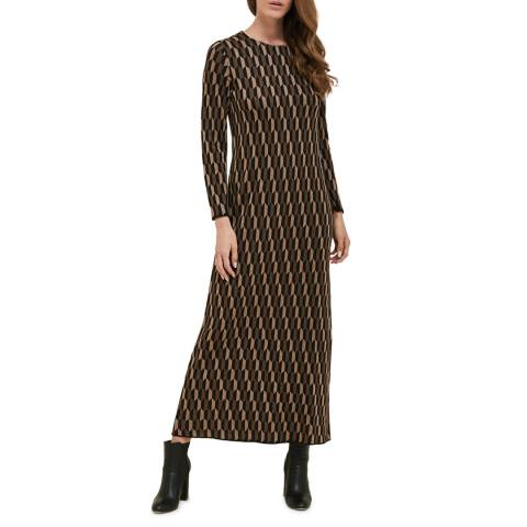 STEFANEL Brown Printed Maxi Dress