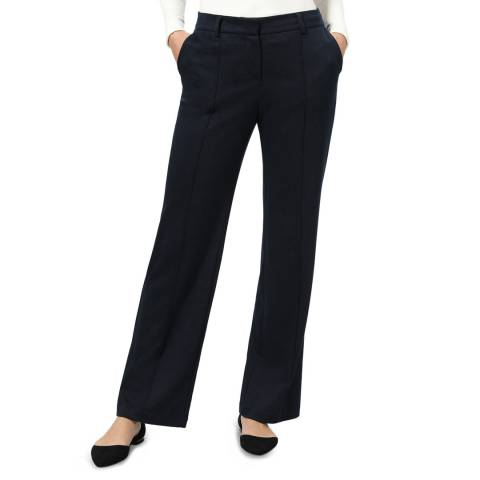 STEFANEL Navy Mid Rise Straight Trousers