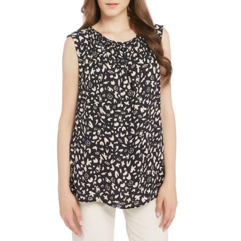 STEFANEL Black/White Sleeveless Loose Top