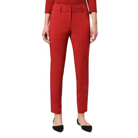 STEFANEL Red Straight Leg Stretch Trousers