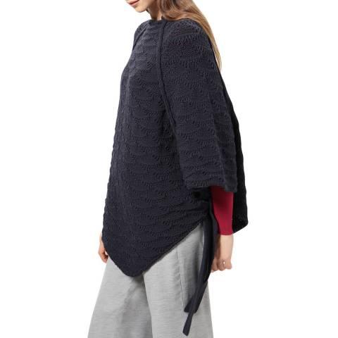 STEFANEL Navy Wool Blend Poncho