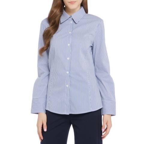 STEFANEL Blue / White Cotton Blend Stripe Shirt