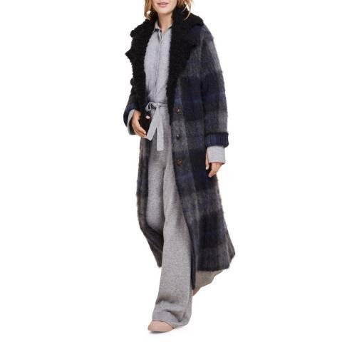 STEFANEL Grey / Blue Mohair Check Coat
