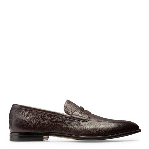 BALLY Brown Leather Webb Loafers