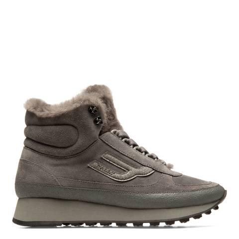 BALLY Grey Galenia Fur Suede High Top Sneaker