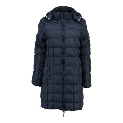 Geographical Norway Girl's Navy Barbouille Long Parka