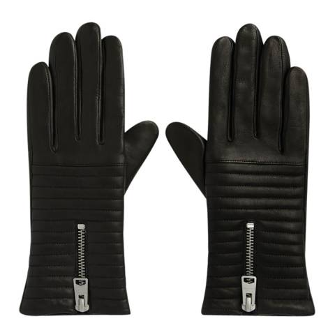 AllSaints Black Estela Quilt Gloves