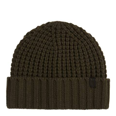AllSaints Dark Khaki Brown Thermal Stitch Beanie