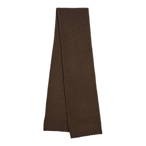 AllSaints Dark Khaki Brown Thermal Stitch Scarf