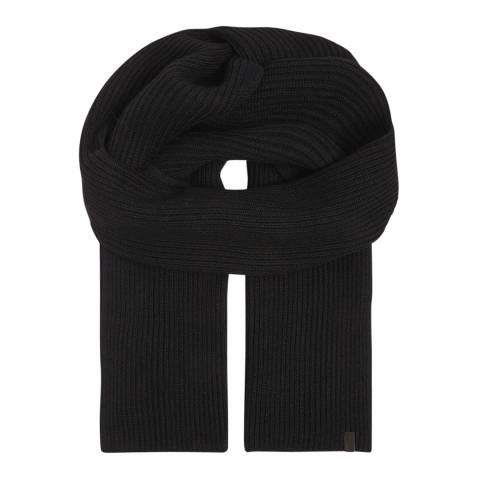 AllSaints Black Narrow Rib Scarf