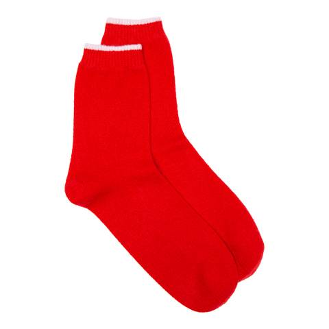 Laycuna London Red Cashmere Socks with Contrast White Trim
